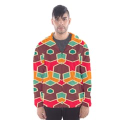 Distorted shapes in retro colors Mesh Lined Wind Breaker (Men)