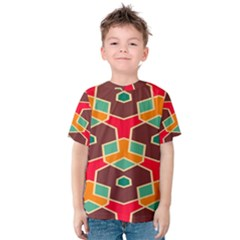 Distorted shapes in retro colors Kid s Cotton Tee