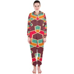 Distorted Shapes In Retro Colors Hooded Onepiece Jumpsuit