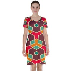 Distorted shapes in retro colors Short Sleeve Nightdress