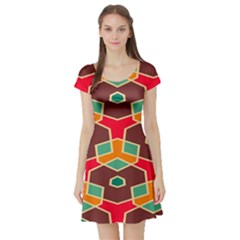 Distorted shapes in retro colors Short Sleeve Skater Dress