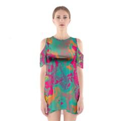 Fading circles Women s Cutout Shoulder Dress