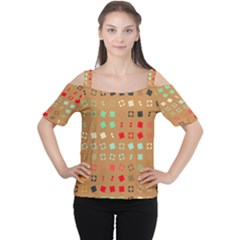 Squares On A Brown Background Women s Cutout Shoulder Tee