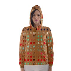 Squares on a brown background Hooded Wind Breaker (Women)