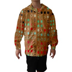 Squares on a brown background Hooded Wind Breaker (Kids)