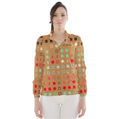 Squares On A Brown Background Wind Breaker (women)