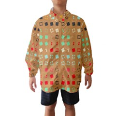 Squares on a brown background Wind Breaker (Kids)
