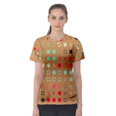 Squares on a brown background Women s Sport Mesh Tee