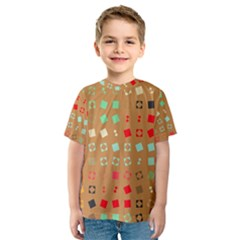 Squares on a brown background Kid s Sport Mesh Tee