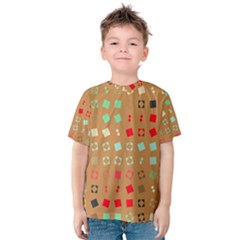 Squares On A Brown Background Kid s Cotton Tee