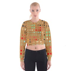 Squares on a brown background   Women s Cropped Sweatshirt