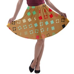 Squares on a brown background A-line Skater Skirt