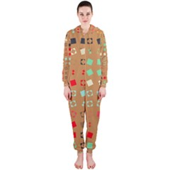 Squares On A Brown Background Hooded Onepiece Jumpsuit