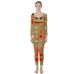 Squares on a brown background  Long Sleeve Catsuit