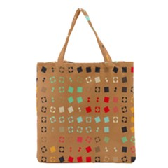 Squares on a brown background Grocery Tote Bag