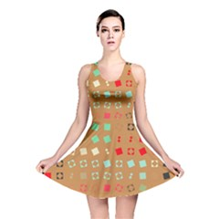 Squares On A Brown Background Reversible Skater Dress