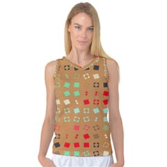 Squares On A Brown Background Women s Basketball Tank Top