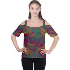 Geometric shapes in retro colors Women s Cutout Shoulder Tee