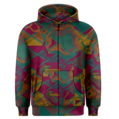Geometric Shapes In Retro Colors Men s Zipper Hoodie