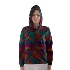Geometric shapes in retro colors Hooded Wind Breaker (Women)