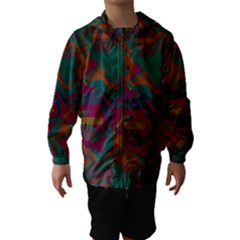 Geometric shapes in retro colors Hooded Wind Breaker (Kids)