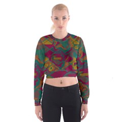 Geometric shapes in retro colors   Women s Cropped Sweatshirt