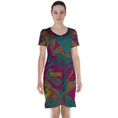 Geometric shapes in retro colors Short Sleeve Nightdress