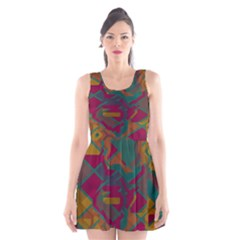 Geometric shapes in retro colors Scoop Neck Skater Dress
