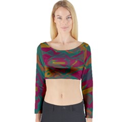 Geometric shapes in retro colors Long Sleeve Crop Top