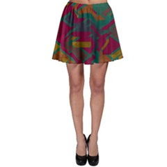 Geometric Shapes In Retro Colors Skater Skirt