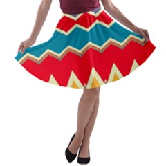 Chevrons and rhombus A-line Skater Skirt