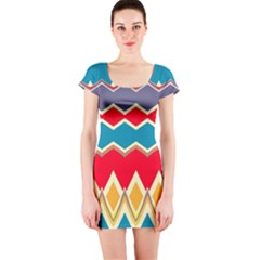Chevrons and rhombus Short sleeve Bodycon dress