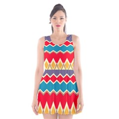 Chevrons and rhombus Scoop Neck Skater Dress