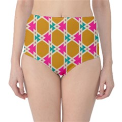 Connected Shapes Pattern High Waist Bikini Bottoms