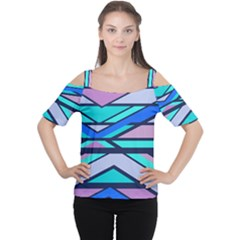 Angles And Stripes Women s Cutout Shoulder Tee