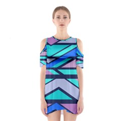 Angles and stripes Women s Cutout Shoulder Dress