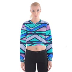 Angles and stripes   Women s Cropped Sweatshirt