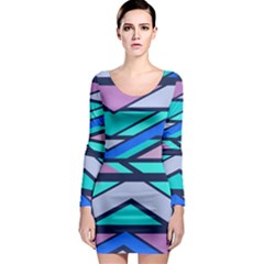 Angles and stripes Long Sleeve Bodycon Dress