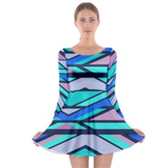 Angles and stripes Long Sleeve Skater Dress