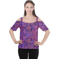 Intricate Patterned Textured Women s Cutout Shoulder Tee