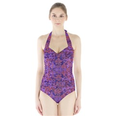 Intricate Patterned Textured Women s Halter One Piece Swimsuit