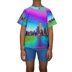 Chicago Colored Foil Effects Kid s Short Sleeve Swimwear