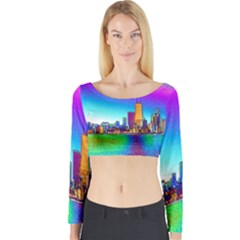 Chicago Colored Foil Effects Long Sleeve Crop Top
