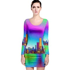 Chicago Colored Foil Effects Long Sleeve Bodycon Dresses