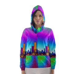 Chicago Colored Foil Effects Hooded Wind Breaker (Women)