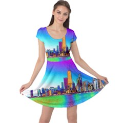 Chicago Colored Foil Effects Cap Sleeve Dresses