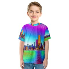 Chicago Colored Foil Effects Kid s Sport Mesh Tees
