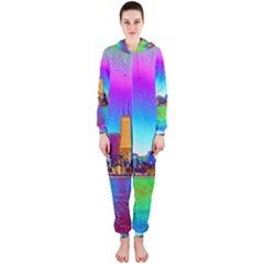 Chicago Colored Foil Effects Hooded Jumpsuit (ladies)