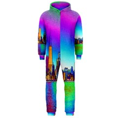Chicago Colored Foil Effects Hooded Jumpsuit (men)