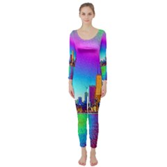 Chicago Colored Foil Effects Long Sleeve Catsuit